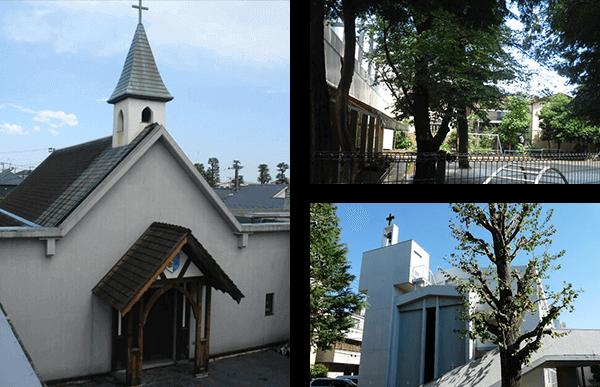 1931年に創設した松沢教会と松沢幼稚園